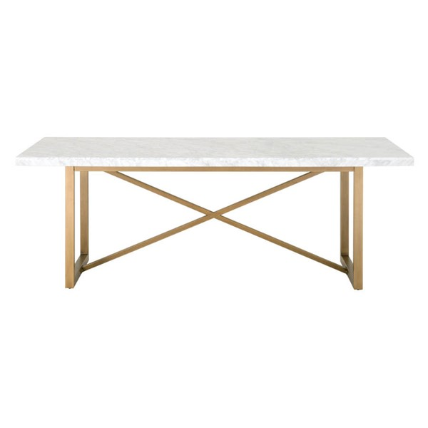 Orient Express Carrera Stone Wash Brushed Gold Dining Table OEF-6098-BGLD-WHT
