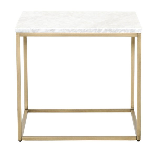 Orient Express Carrera Brushed Gold White End Table OEF-6101-BGLD-WHT