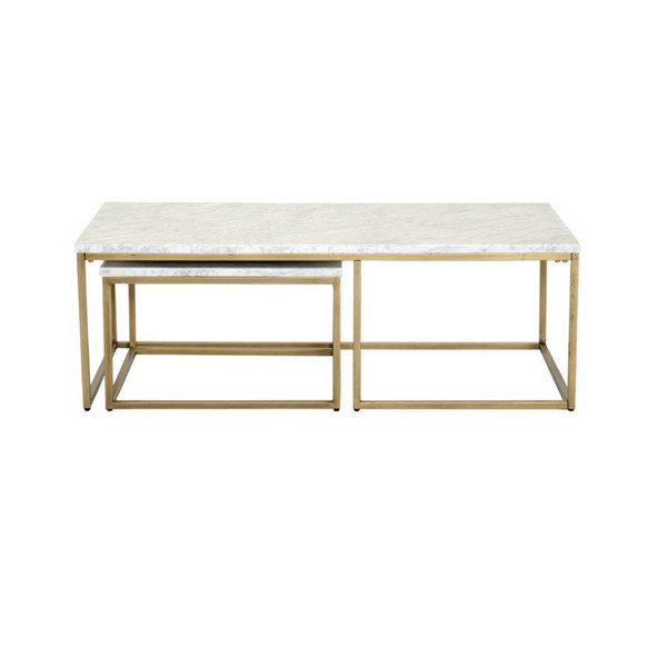 Orient Express Carrera Brushed Gold White Nesting Coffee Table OEF-6100-BGLD-WHT
