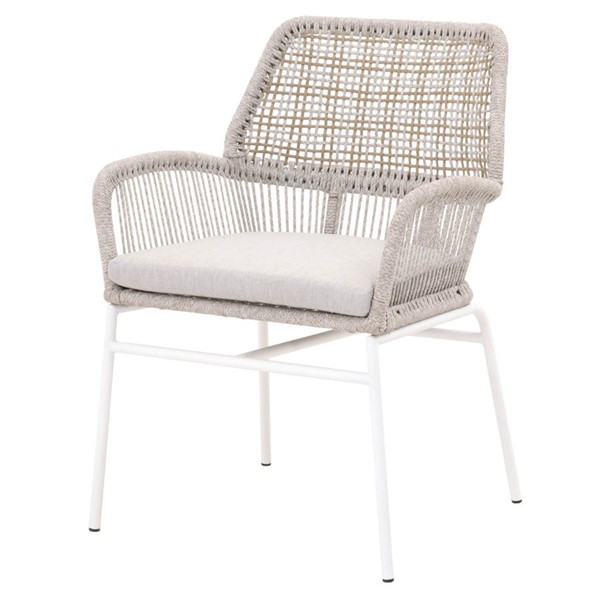 2 Orient Express Knit Taupe White Light Gray Outdoor Arm Chairs OEF-6852-WTA-PUM-WHT