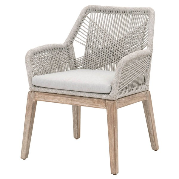 2 Orient Express Loom Taupe White Natural Gray Arm Chairs OEF-6809KD-WTA-PUM-NG