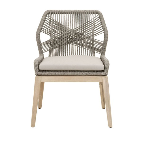 2 Orient Express Loom Platinum Smoke Gray Outdoor Dining Chairs OEF-6808KD-PLA-SGRY-GT
