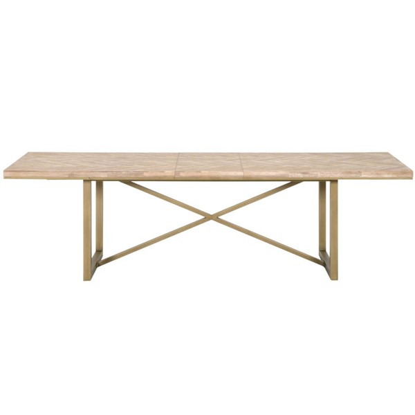 Orient Express Mosaic Stone Wash Brushed Gold Extension Dining Table OEF-6084-L-SW