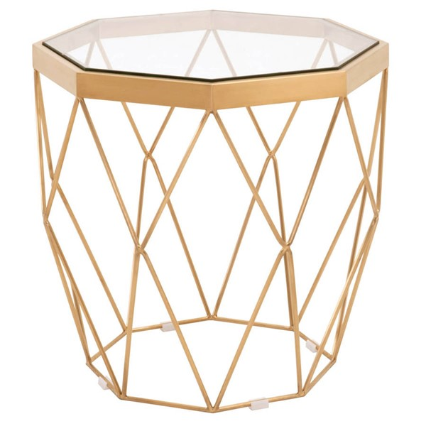 Orient Express Origami Clear Brushed Gold End Table OEF-8069-BGLD