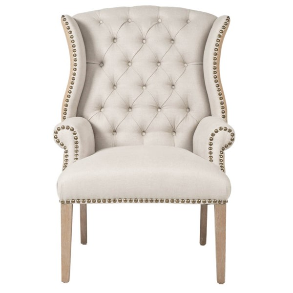 Orient Express Quinn Stone Wash Oatmeal Tufted Arm Chair OEF-7146UP-2OAT-GLD-SW