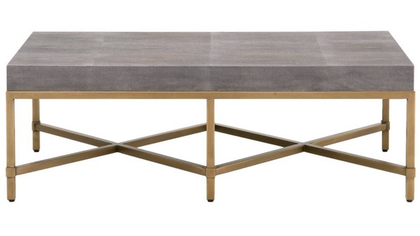 Orient Express Strand Gray Shagreen Brushed Gold Coffee Table OEF-6117-GRY-SHG-GLD