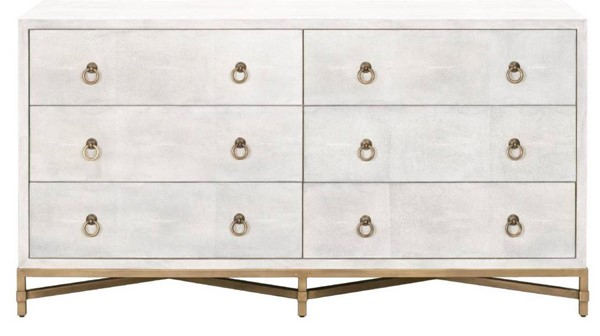 Orient Express Strand White Shagreen Brushed Gold 6 Drawer Double Dresser OEF-6122-WHT-SHG-GLD