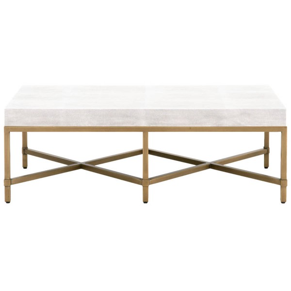 Orient Express Strand White Shagreen Brushed Gold Coffee Table OEF-6117-WHT-SHG-GLD