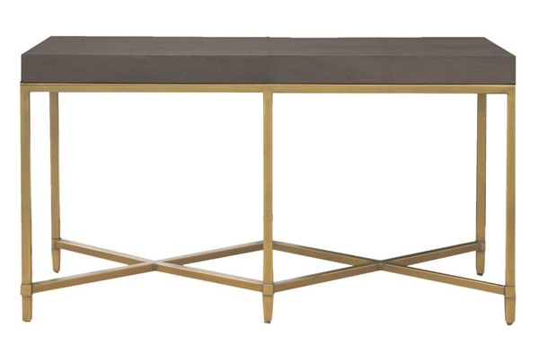 Orient Express Strand Gray Shagreen Brushed Gold Console Table OEF-6119-GRY-SHG-GLD