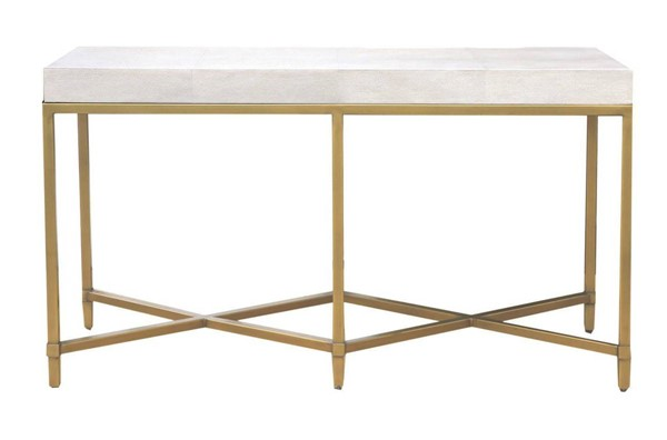Orient Express Strand White Shagreen Brushed Gold Console Table OEF-6119-WHT-SHG-GLD