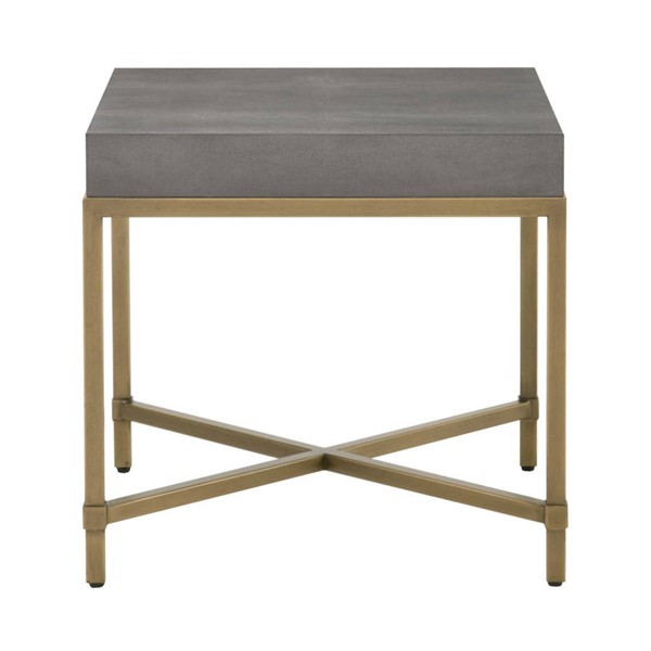 Orient Express Strand Gray Shagreen Brushed Gold End Table OEF-6118-GRY-SHG-GLD