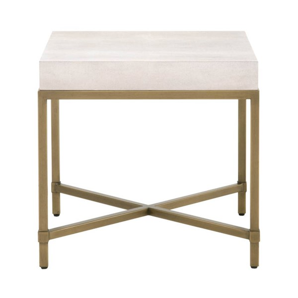 Orient Express Strand White Shagreen Brushed Gold End Table OEF-6118-WHT-SHG-GLD
