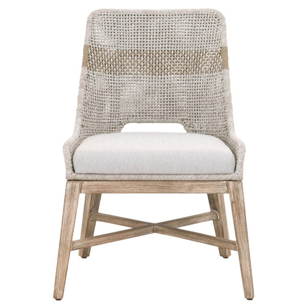 2 Orient Express Tapestry Natural Gray White Dining Chairs OEF-6850-WTA-PUM-NG