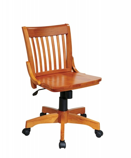 Deluxe Fruitwood Wood Seat & Back Caster Base Bankers Chair OSP-101FW