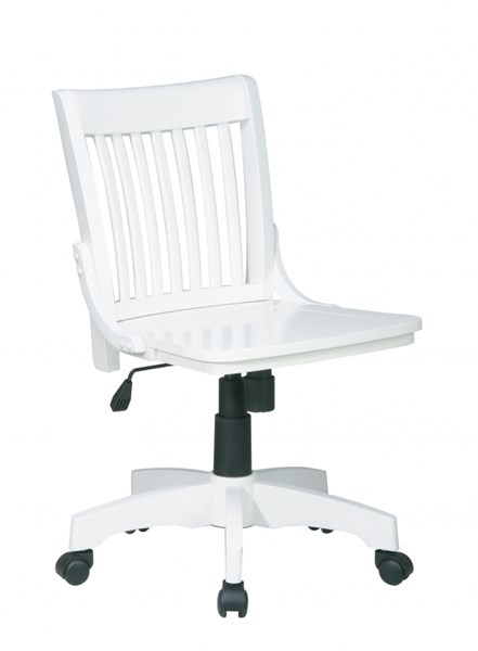 Deluxe White Wood Seat & Back Caster Base Bankers Chair OSP-101WHT