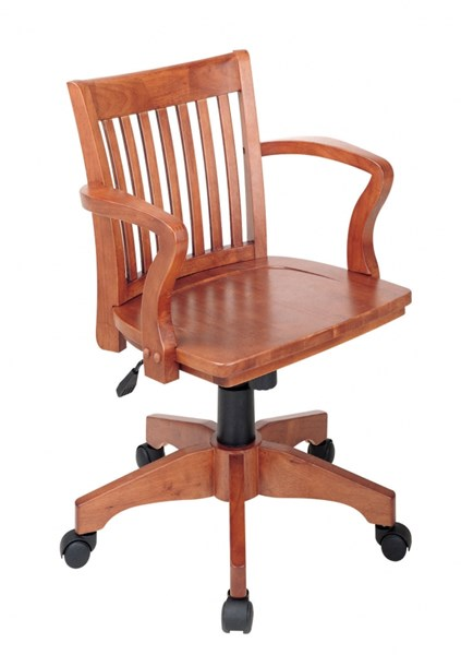Deluxe Fruitwood Wood Seat & Back Arm Caster Base Bankers Chair OSP-105FW