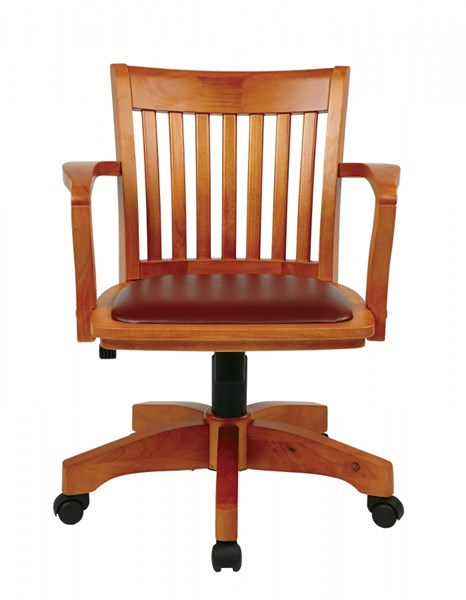Deluxe Fruitwood Wood & Brown Vinyl Padded Seat Bankers Chair OSP-108FW-1