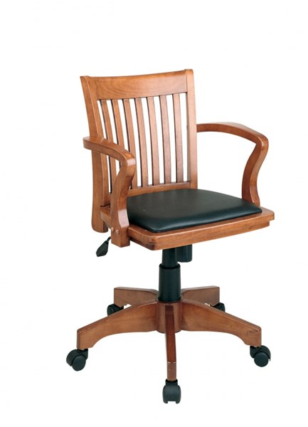 Deluxe Fruitwood Wood & Black Vinyl Padded Seat Bankers Chair OSP-108FW-3