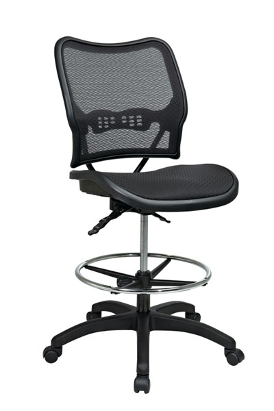 Black Deluxe Ergonomic AirGrid Seat & Back Drafting Chair OSP-13-77N30D
