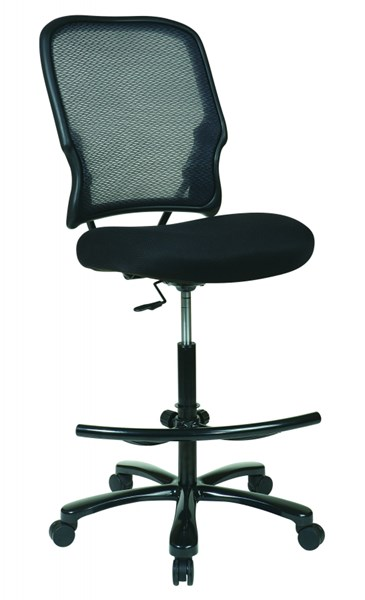 Black Big Mans AirGrid Back w/Double Layer Seat Armless Drafting Chair OSP-15-37A720D