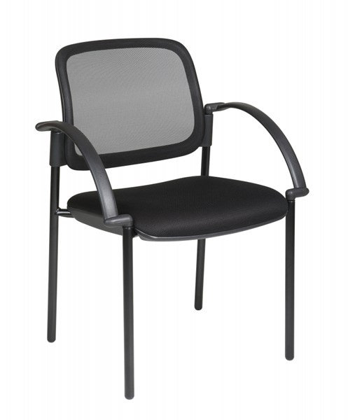 Black Screen Back & Mesh Seat Visitors Chair with Arms OSP-183305