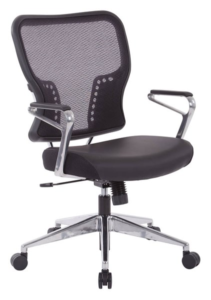 213 Series Black Bonded Leather Air Grid Back & Padded Seat Chair OSP-213-E37P91A7