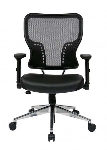 Air Grid Back Bonded Leather Seat Chair w/4-Way Adjustable Flip Arms OSP-213-E37P91F3