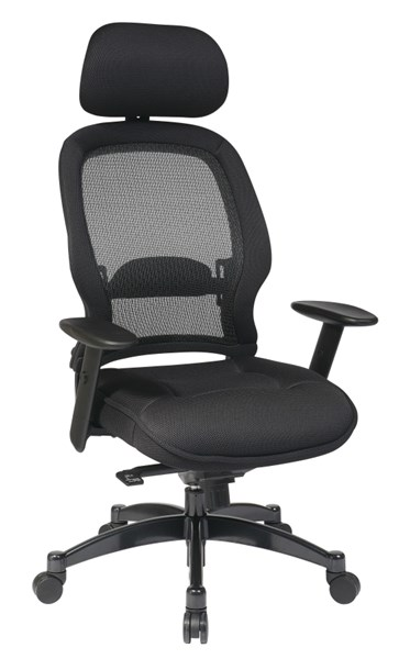 Black Professional Deluxe Breathable Mesh Back Chair w/Headrest OSP-25004