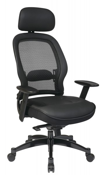 Black Professional Breathable Mesh Back Chair w/Leather Seat OSP-27008