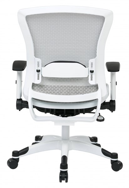 Pulsar White Frame Managers Chair w/Padded Mesh Seat & Back in White OSP-317W-W11C1F2W