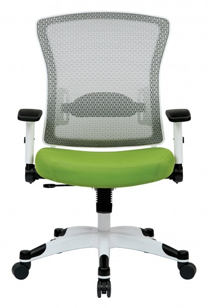 Pulsar White Frame Managers Chair w/Padded Mesh Seat & Back in Green OSP-317W-W1C1F2W-6