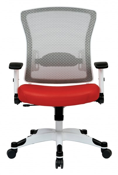 Pulsar White Frame Managers Chair w/Padded Mesh Seat & Back in Red OSP-317W-W1C1F2W-9