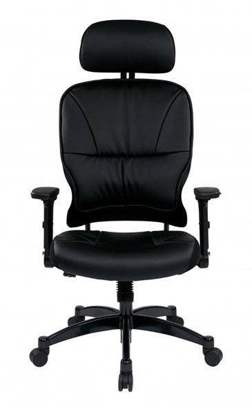 Black Bonded Leather Seat & Back Managers Chair W/Headrest OSP-32-E3371F3HL