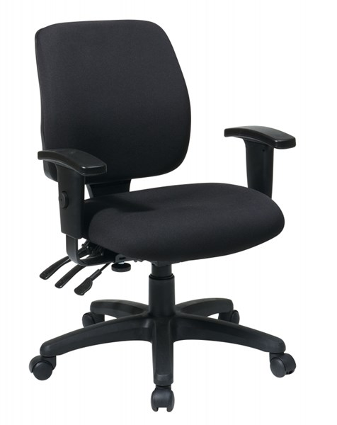 Black Mid Back Ergonomic Chair w/Ratchet Back w/Arms OSP-33327-30 OSP-33327-30