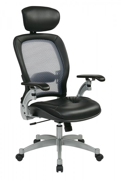 Black Professional Light AirGrid Leather Seat Chair w/Headrest OSP-36806