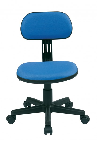 Blue Fabric Pneumatic Seat Height Adjustment Armless Task