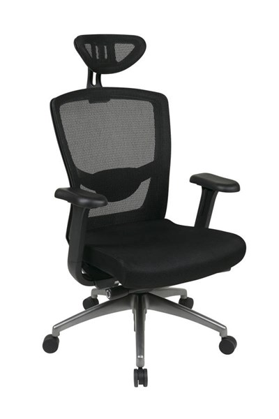 Progrid Contemporary Black Titanium Mesh Executive Chair w/Headrest OSP-511343ATHRX53