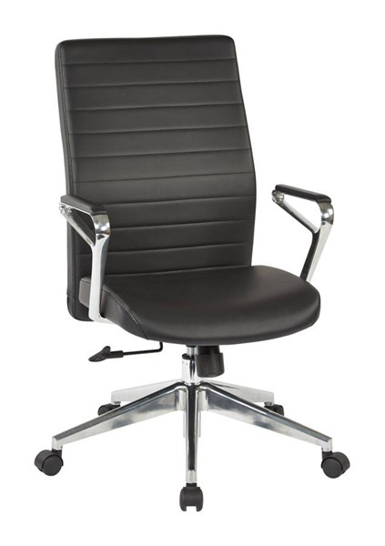 Black Bonded Leather Polished Aluminum Arms & Base Manager Chair OSP-518317HA-EC3