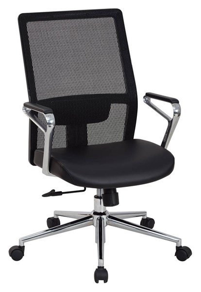 High Back Mesh Black Bonded Leather Seat Aluminum Arms Managers Chair OSP-519117HC-EC3