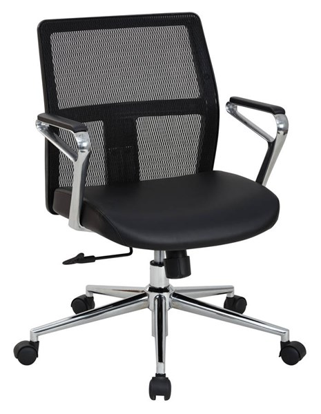Mid Back Mesh Black Bonded Leather Seat Aluminum Arms Managers Chair OSP-519117MC-EC3