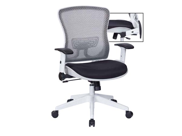 White Breathable Mesh Back & Paddded Seat Managers Chair OSP-525W-3W1N11F2W