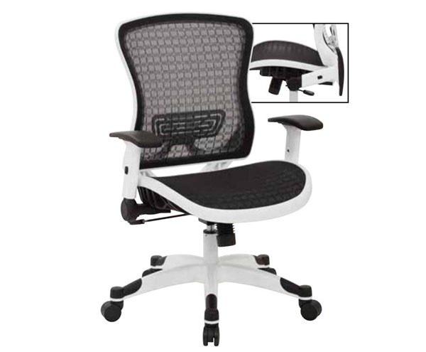 White Frame CHX Dark Breathable Mesh Seat & Back Manager Chair OSP-525W-G33C11F2W