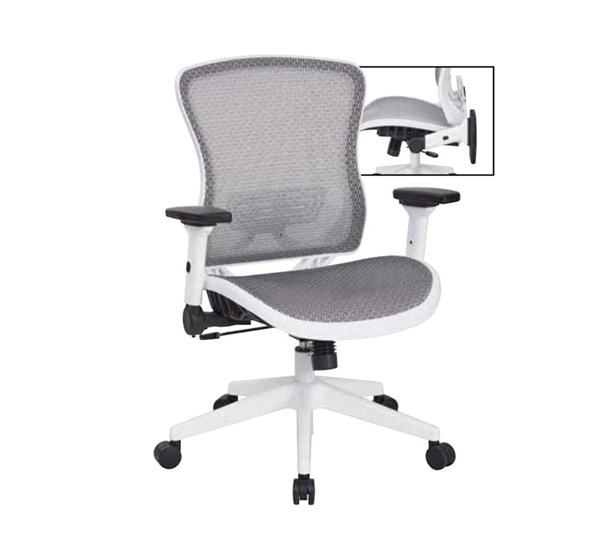 White Breathable Mesh Back & Paddded Mesh Seat Managers Chair OSP-525W-W11N11F2W