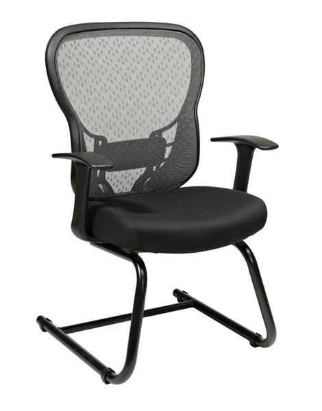 Black Deluxe R2 SpaceGrid Back w/Mesh Seat Visitors Chair OSP-529-3R2V30