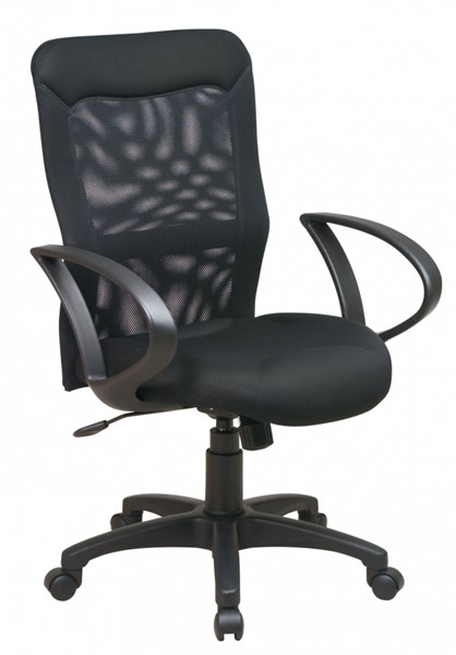 Ventilated Seating Black Mesh Screen Back & Seat Chair w/Loop Arms OSP-53603