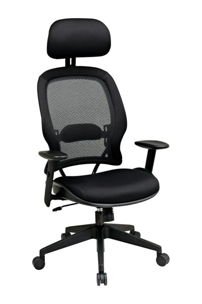 Black Professional AirGrid Back & Mesh Seat Chair w/Headrest OSP-55403