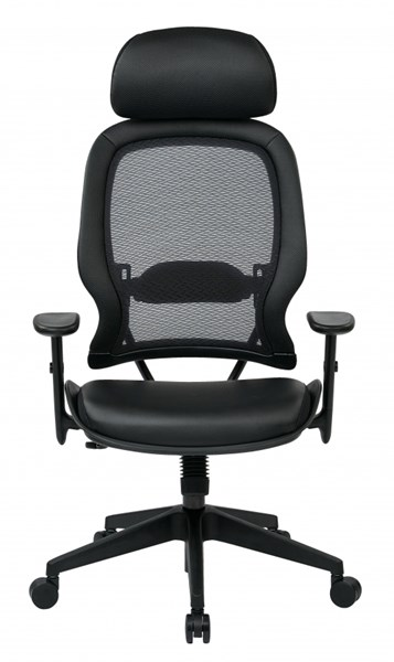 Professional Air Grid Chair Adjustable Headrest w/Bonded Leather Seat OSP-57906E