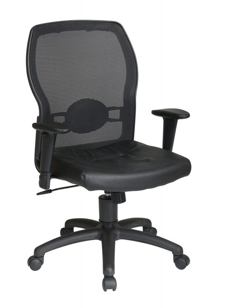 Ventilated Seating Black Woven Mesh Back & Leather Seat OSP-599402