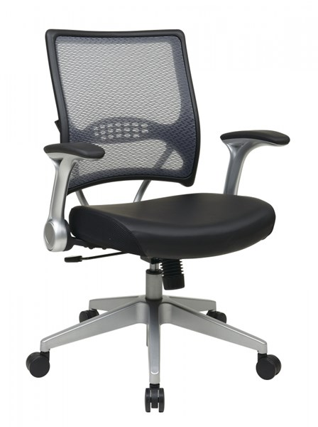 AirGrid Back & Black Leather Seat Managers Chair w/2-to-1 Synchro Tilt OSP-67-E36N61R5