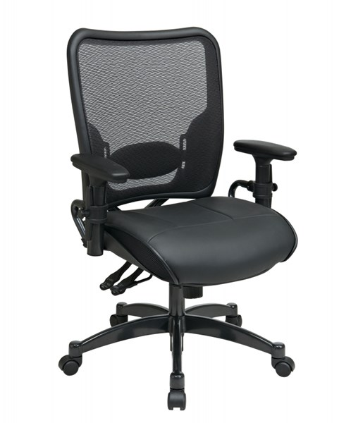 Black Professional Ergonomic AirGrid Back & Leather Seat Chair OSP-6876